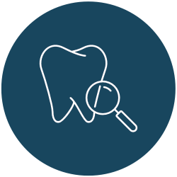 tooth with a magnifying glass icon