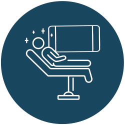 patient relaxed in the dental chair icon