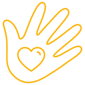 open hand with heart icon